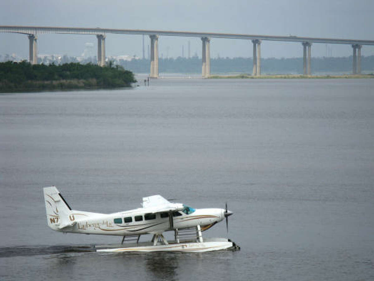 High rollers at L'Auberge du Lac Casino Resort gamble onboard a sea plane.