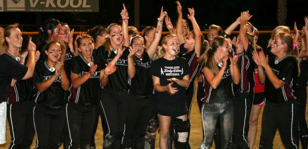 Game 2: Pearland 6, Clear Creek 2 All joy for the Lady Oilers after winning the series against Clear Creek.
