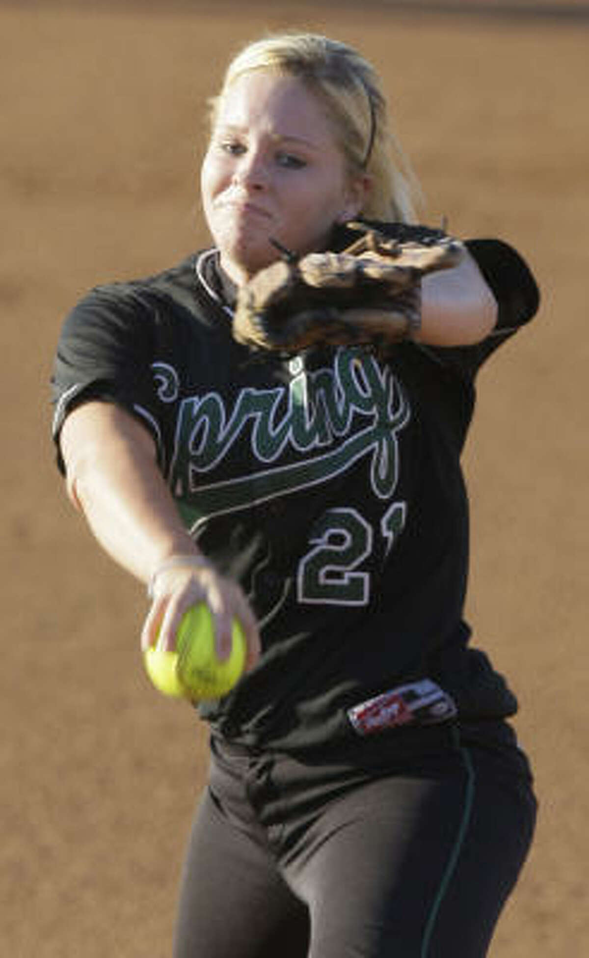 Spring pitcher Sarah Kirby winds to deliver against Vista Ridge in the 5A Region II final Thursday in College Station.