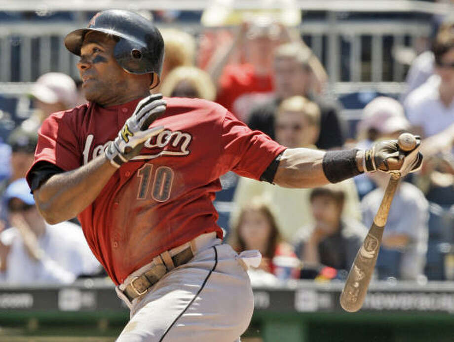 Miguel Tejada closed his strong month of May offensively with the game-winning single in the seventh inning. Photo: Gene J. Puskar, AP