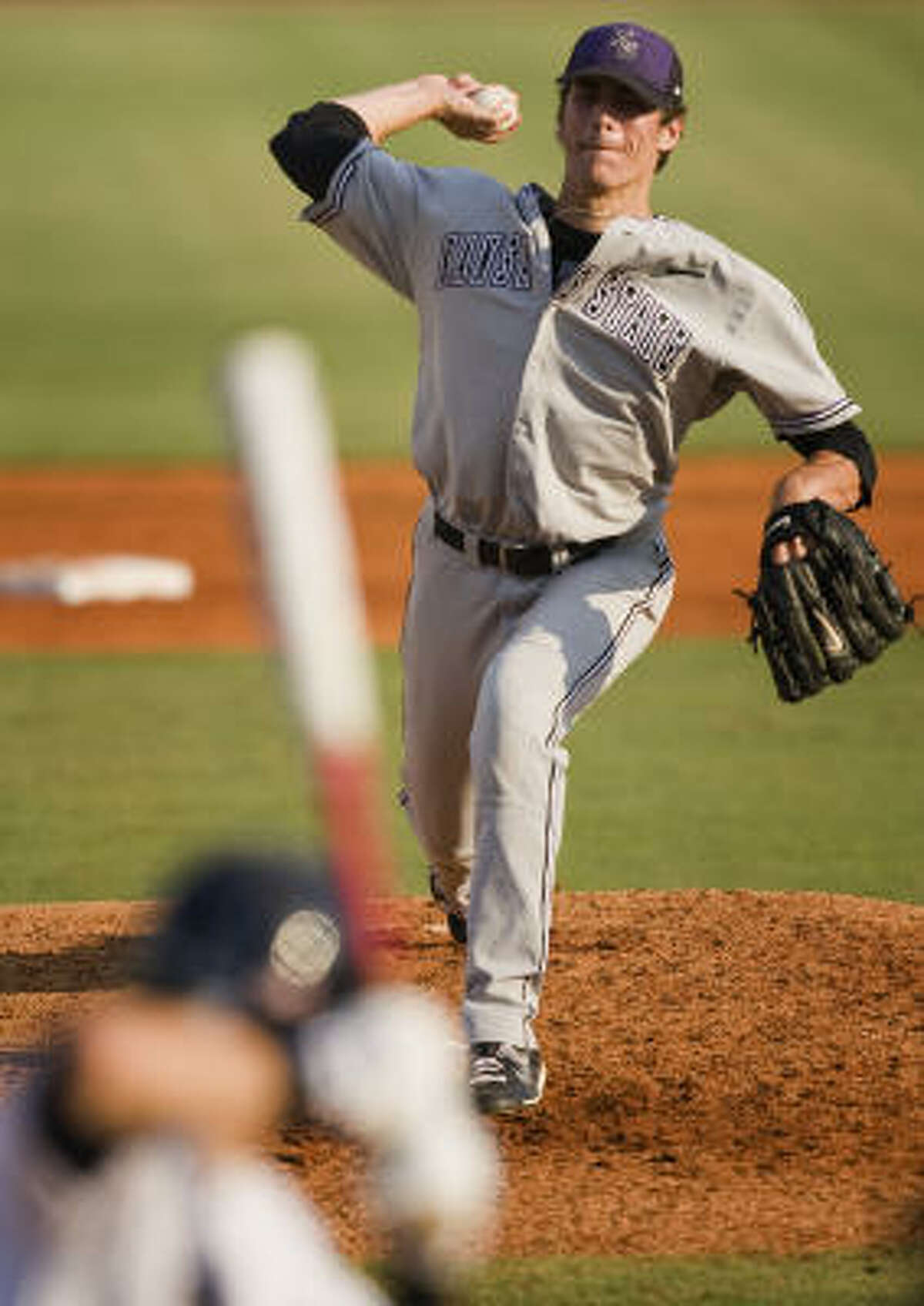 Kansas State pitcher A.J. Morris delivers a pitch during the third inning.