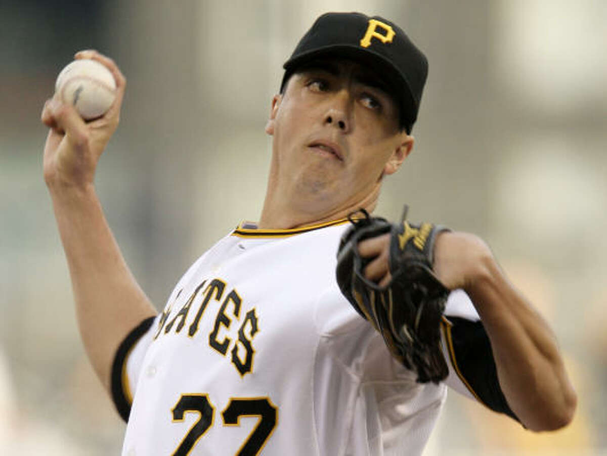 Pirates starter Jeff Karstens held the Astros to two runs on six hits in seven innings of work.