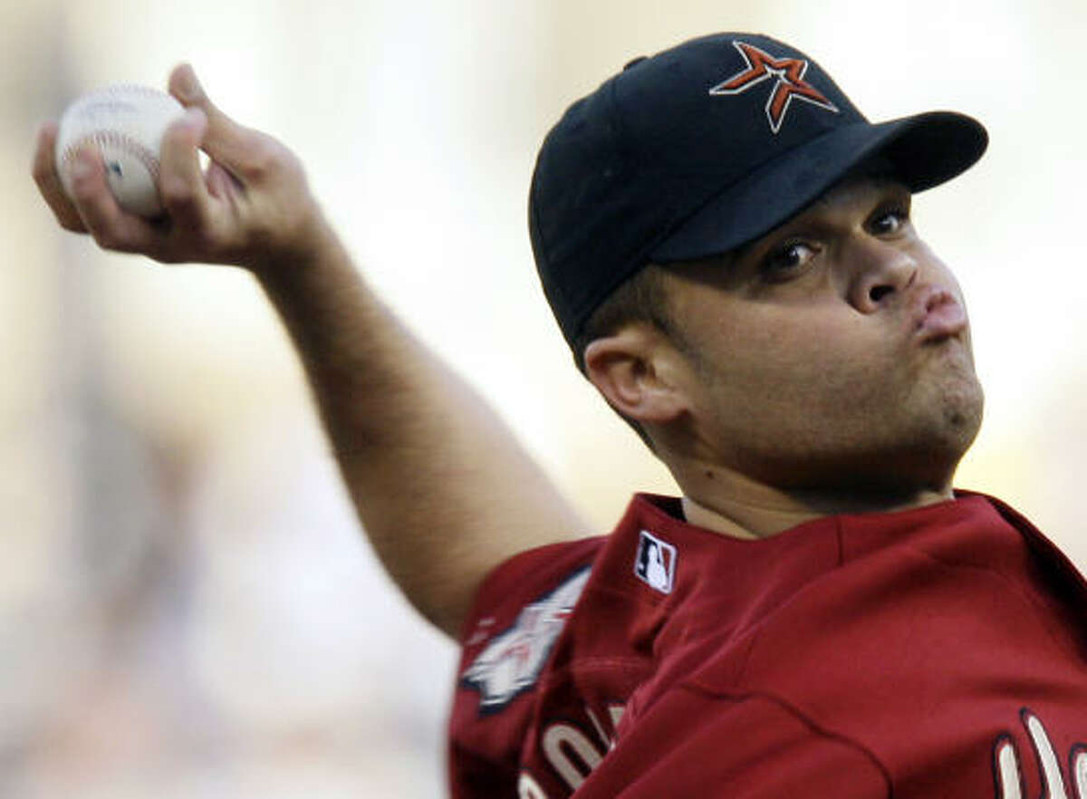 Astros starter Wandy Rodriguez lasted 4 2/3 innings while giving up five runs on nine hits.