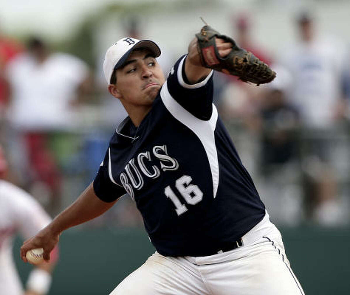 Brazoswood pitcher Anthony McIntyre throws against Bellaire.