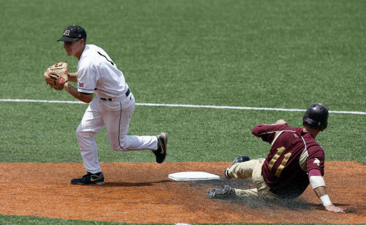 May 30: Army 7, Texas State 4 Army's Zach Price looks to throw after forcing out Texas State's Jason Martinson.