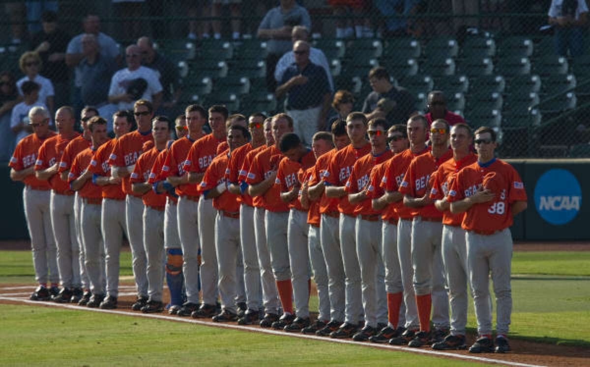 May 29: Rice 5, Sam Houston State 2 Sam Houston State players stand for the National Anthem before the game.