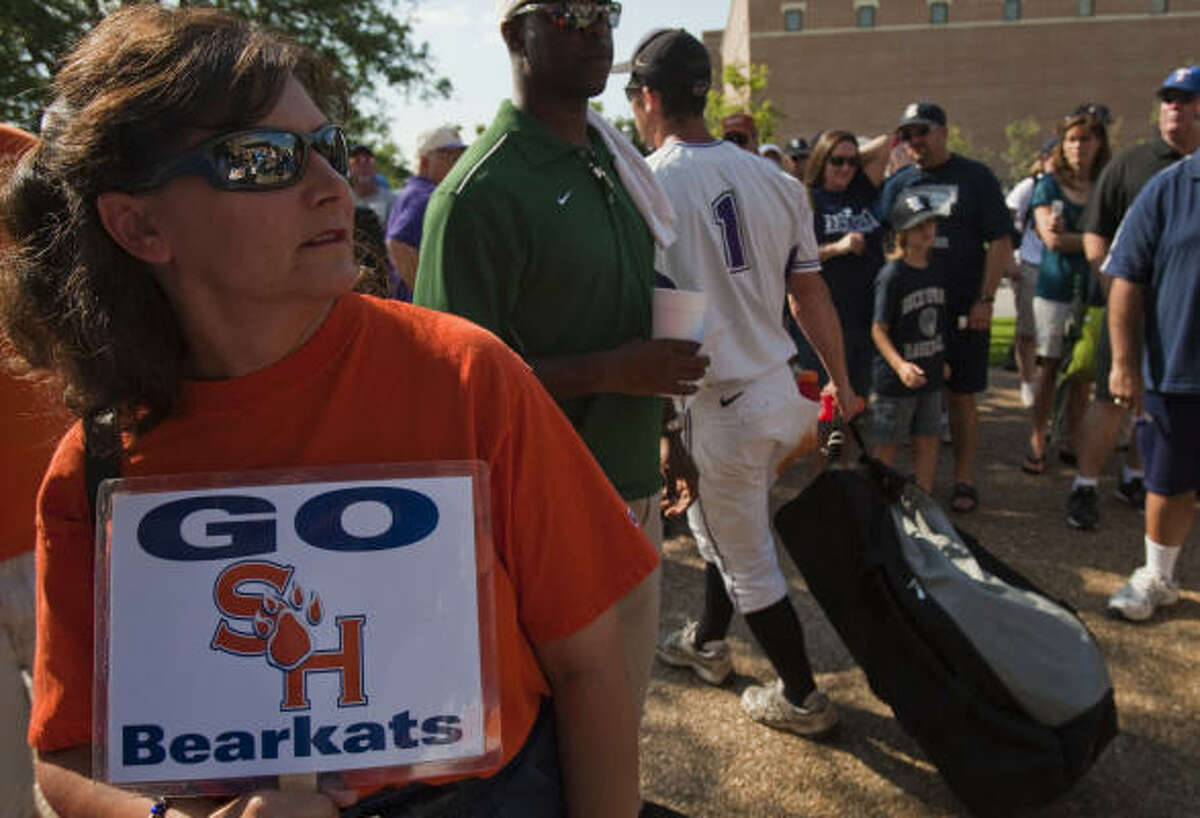 May 29: Rice 5, Sam Houston State 2 Dana Powers of Richardson shows signs of spirit for the Sam Houston State Bearkats as she waits for the gates to open before the NCAA Regional action at Reckling Park.
