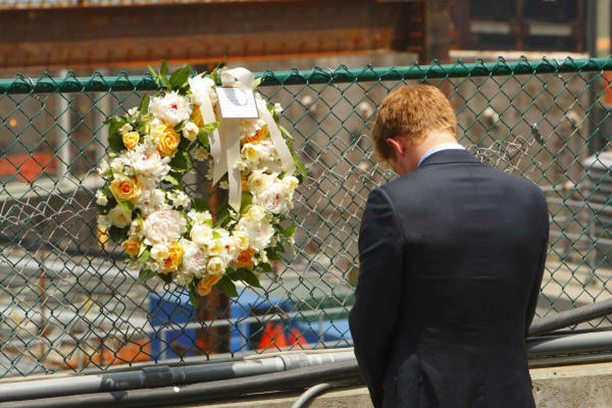 Harry pays his respects after laying a wreath at Ground Zero. He also left a note, partly reading,