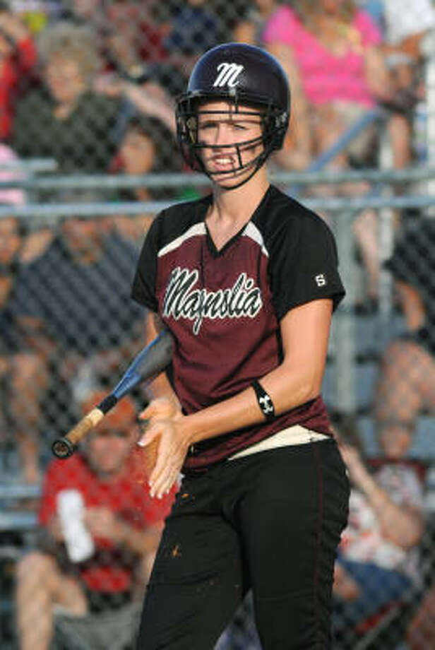 Waltrip 1, Magnolia 0: Magnolia senior Jamie Paulson gets ready for an at-bat. Photo: Jerry Baker, For The Chronicle