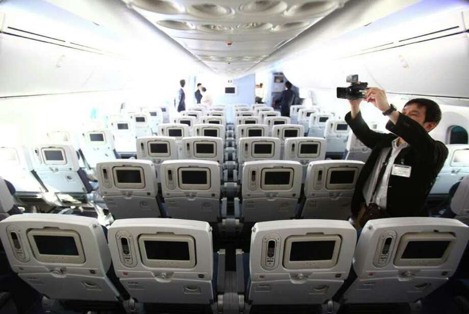 The coach cabin is shown during the reveal of the first Boeing 787 destined for use by launch customer All Nippon Airways. Photo: JOSHUA TRUJILLO / SEATTLEPI.COM