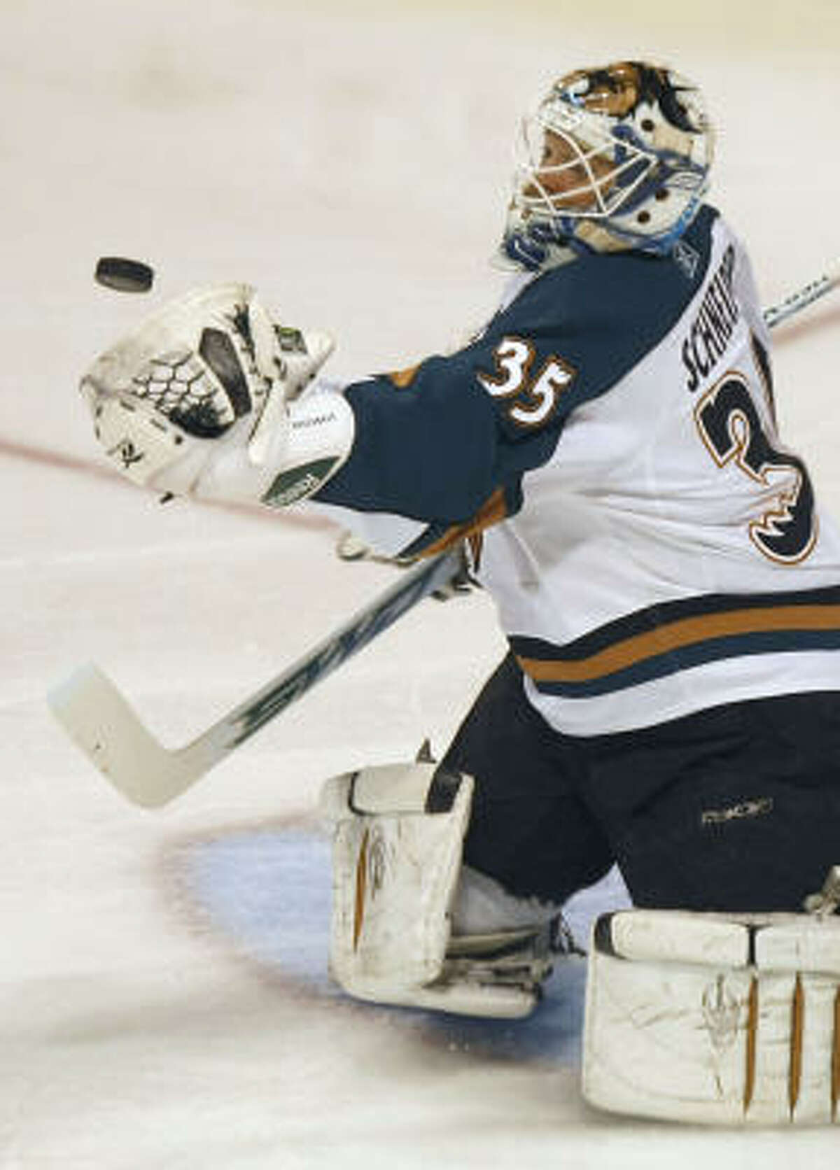 Western Conference finals: Game 1 The series opened in Winnipeg as the Manitoba Moose beat the Aeros 2-1.