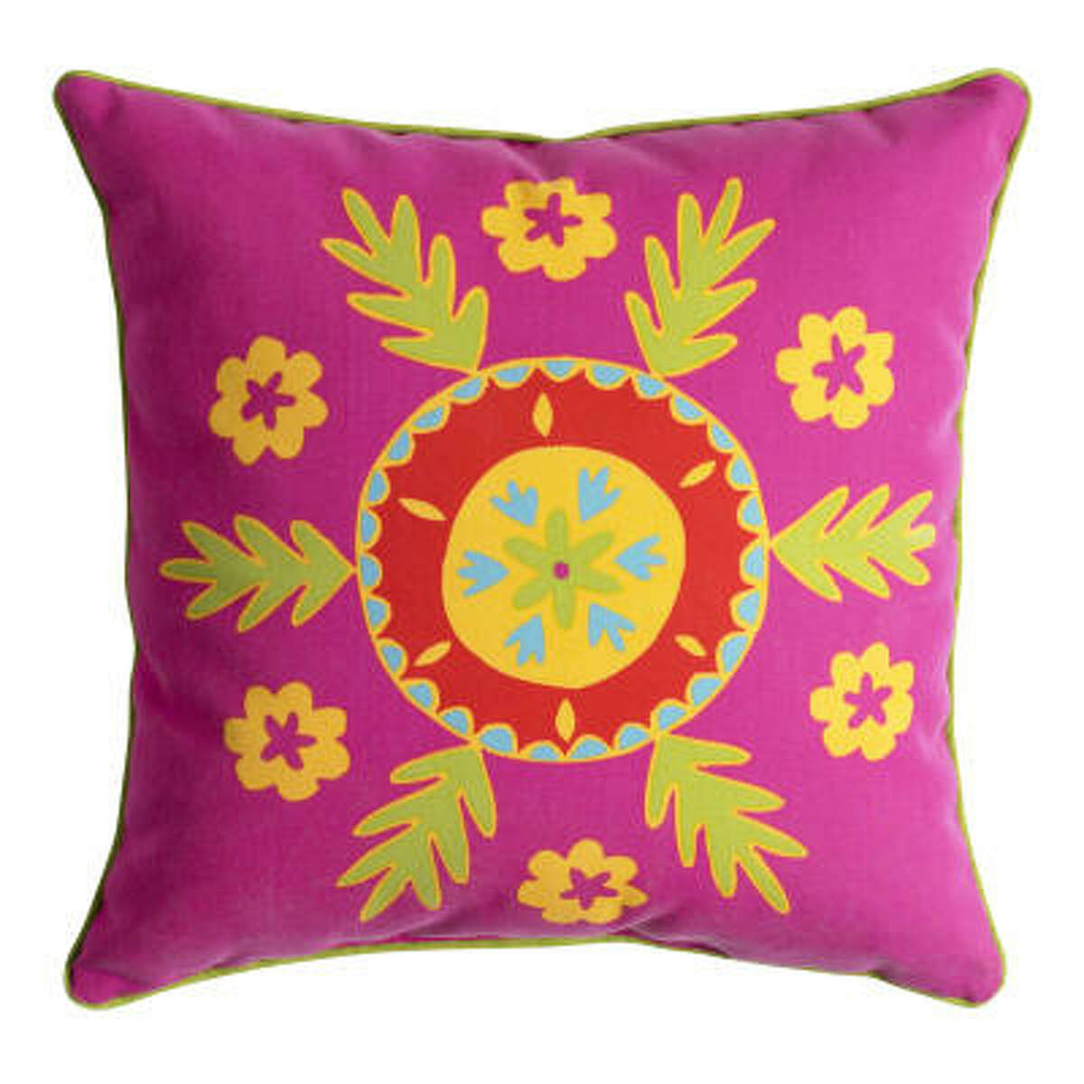 The Suzani outdoor pillow measures 18 inches square, $16.95, Pier 1 Imports
