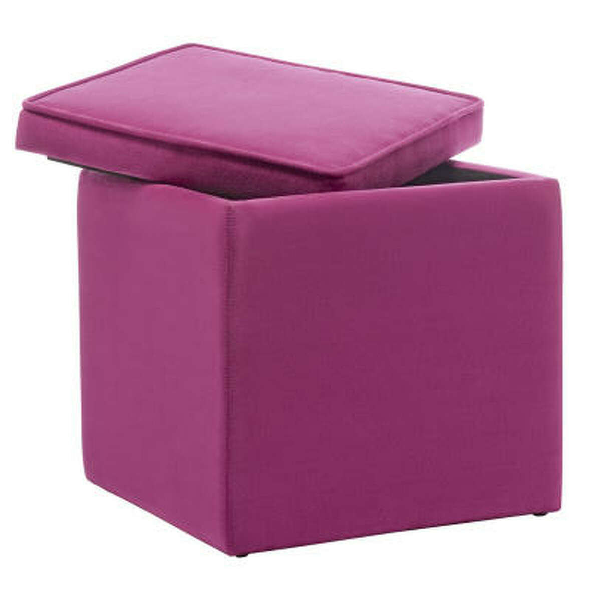 Double your pleasure with a splash of fuchsia that multitasks as seating and storage. $19.99, Target.