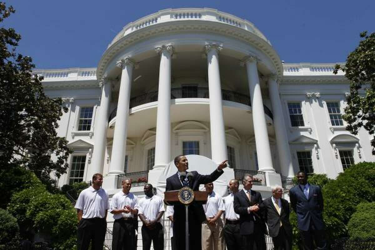 President Barack Obama gathers with the Steelers on the South Lawn.