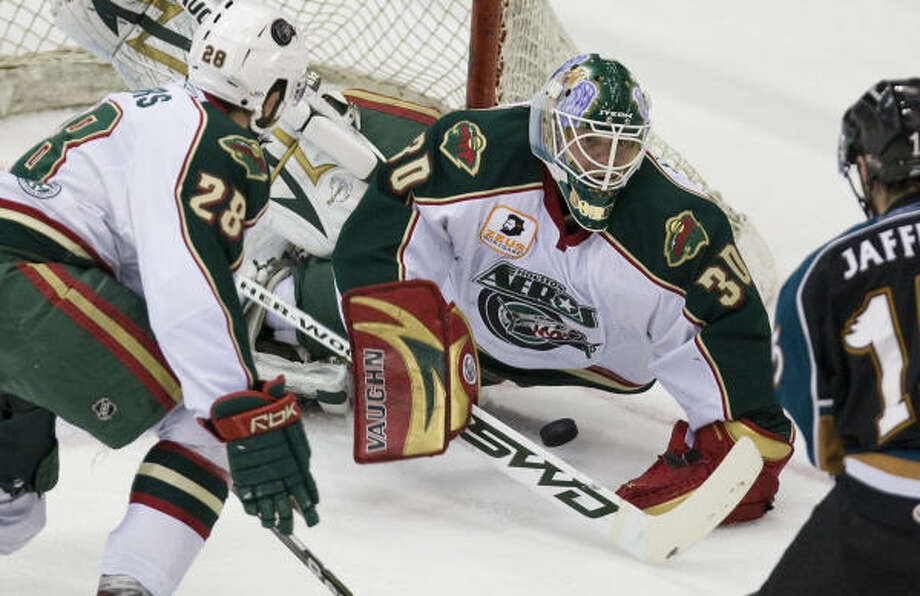 Anton Khudobin, center, tended goal for parts of three seasons with the Aeros from 2007-10. He has the Dallas Stars in the Stanley Cup Final, which begins Saturday against Tampa Bay. Photo: Nick De La Torre, Chronicle