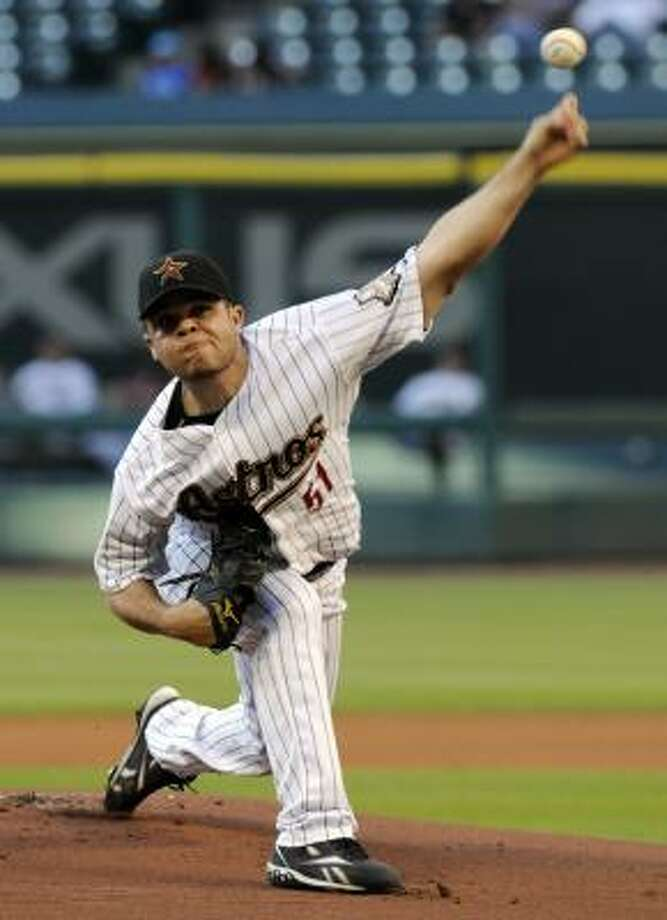 Astros starter Wandy Rodriguez came into Wednesday's game with a 1.90 ERA. Photo: Pat Sullivan, Associated Press