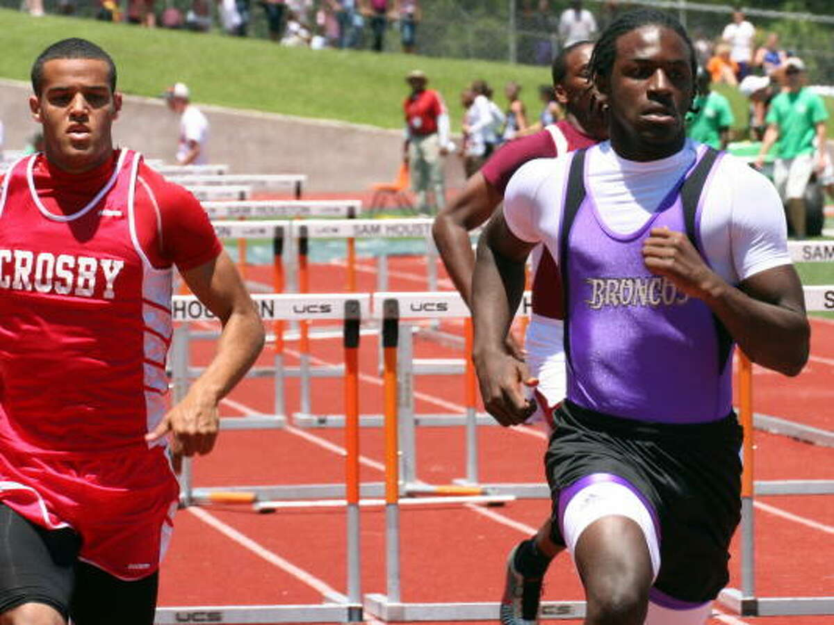 Dayton's Cameron Lacour (right) and Crosby's Chanc Casey finished first and second in the 110, 300-meters hurdles.