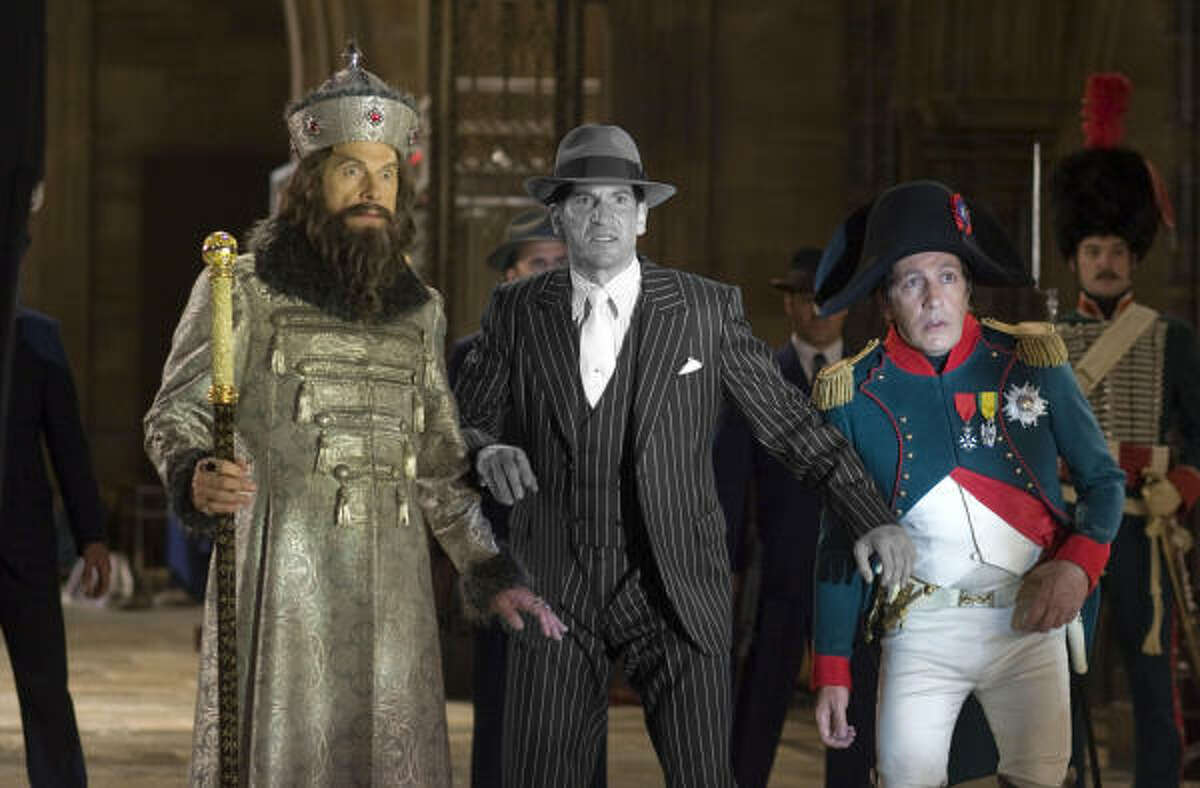 Three of history's greatest henchmen – Ivan the Terrible (Christopher Guest, left), Al Capone (Jon Bernthal) and Napoleon Bonaparte (Alain Chabat) pause during the epic Battle of the Smithsonian.
