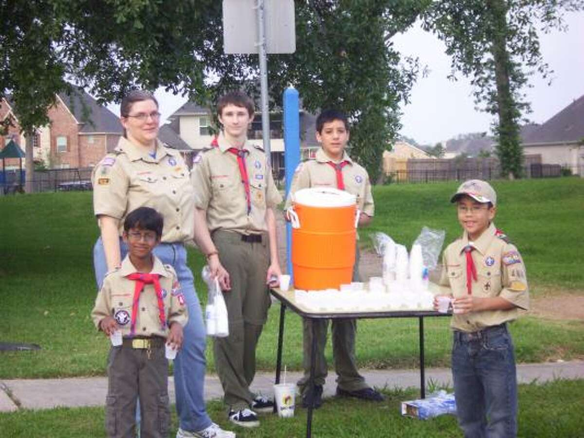 The Boy Scouts volunteered at the Pear Run.