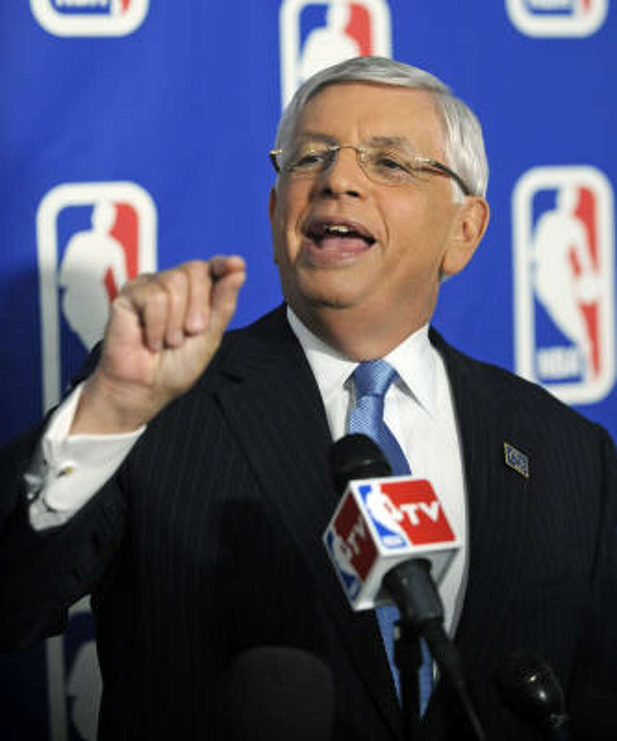 NBA commissioner David Stern talks to the media prior to the NBA draft lottery Tuesday.
