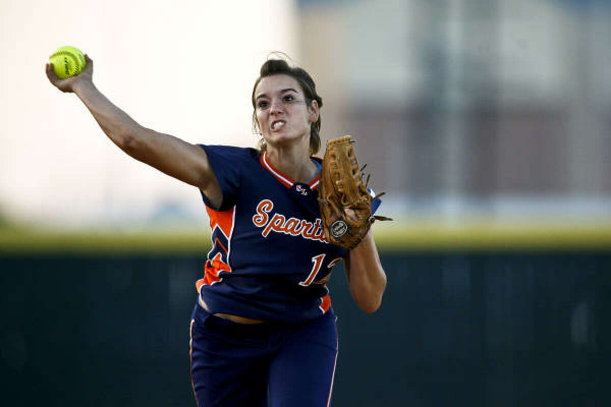 Seven Lakes' Amber Briner tries to make a play in the Region III softball quarterfinals Tuesday at Stratford High School.