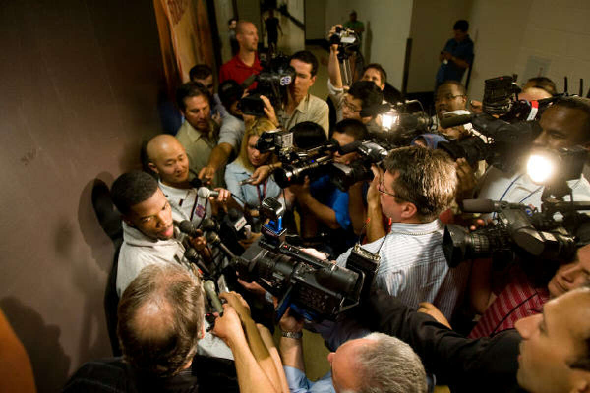 Houston Rockets guard Aaron Brooks answers questions about his performance during the playoffs as he and his teammates leave the team for the season.