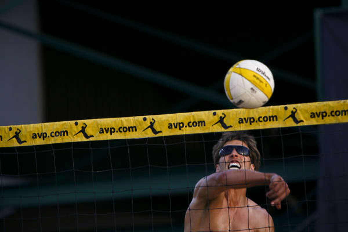 Will Strickland goes up for a spike. The AVP Crocs Tour Houston Open began May 15 and concludes with championship matches May 17.