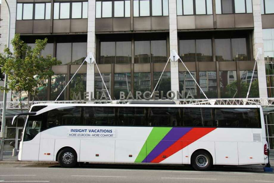 Insight Vacations bus parked during a stop in Barcelona. (Courtesy Insight Vacations)