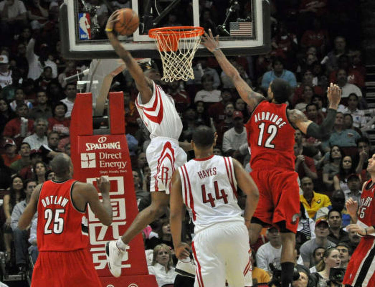 April 5, Rockets beat Trail Blazers 102-88 With the win, Von Wafer (shown on the dunk) and the Rockets moved back ahead of Portland to the fourth seed and moved within a half-game of the San Antonio Spurs for the Southwest Division lead. Statistics   Record: 49-28