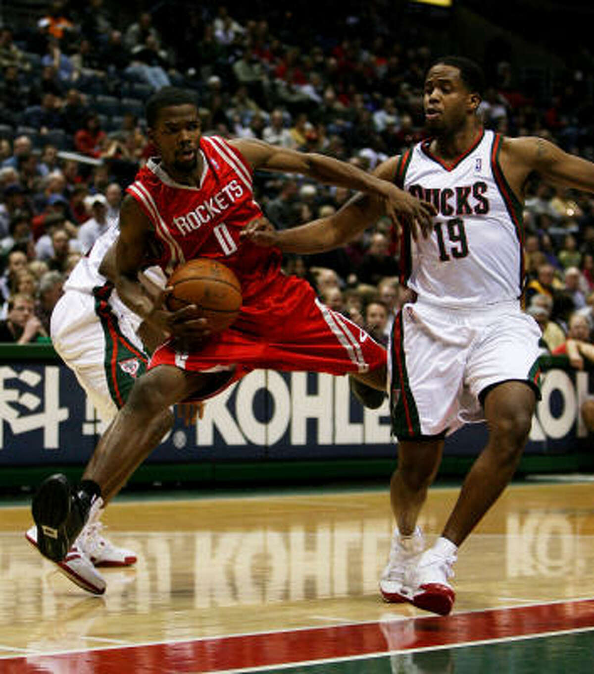 Feb. 10, Rockets lose to Bucks 124-112 . Aaron Brooks, left, and the Rockets surrendered a season-high for points allowed and fell to a sub-.500 team for the 11th time this season in a 124-112 loss to Damon Jones and the Bucks in Milwaukee. Statistics | Record: 31-21