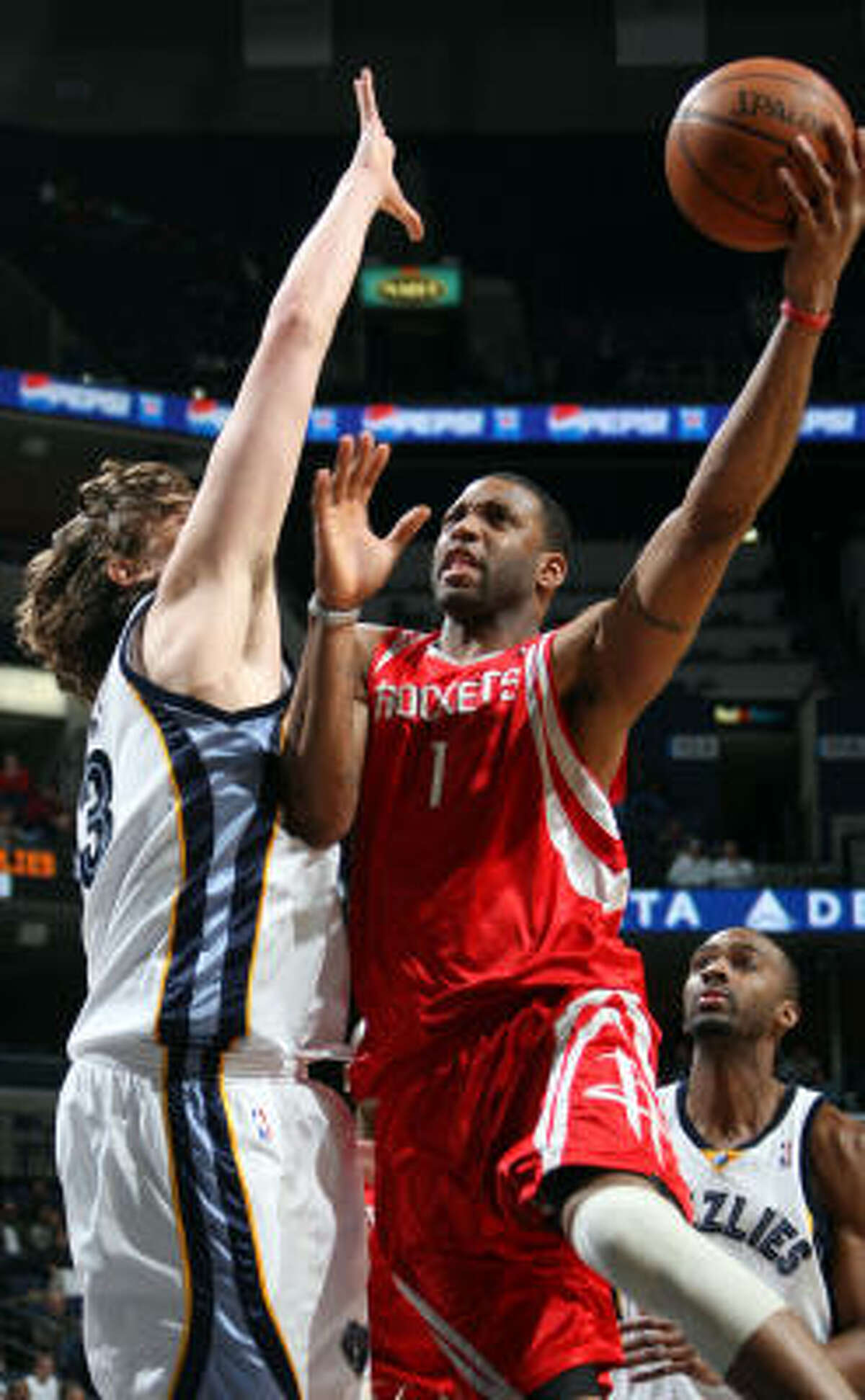 Feb. 4, Rockets fall to Grizzlies 104-93 . Tracy McGrady, right, and the Rockets cut a 16-point deficit in the fourth quarter to just four, but failed to contain rookie star O.J. Mayo, center Marc Gasol (pictured) and the hot-shooting Grizzlies down stretch en route to a loss. Statistics | Record: 30-20