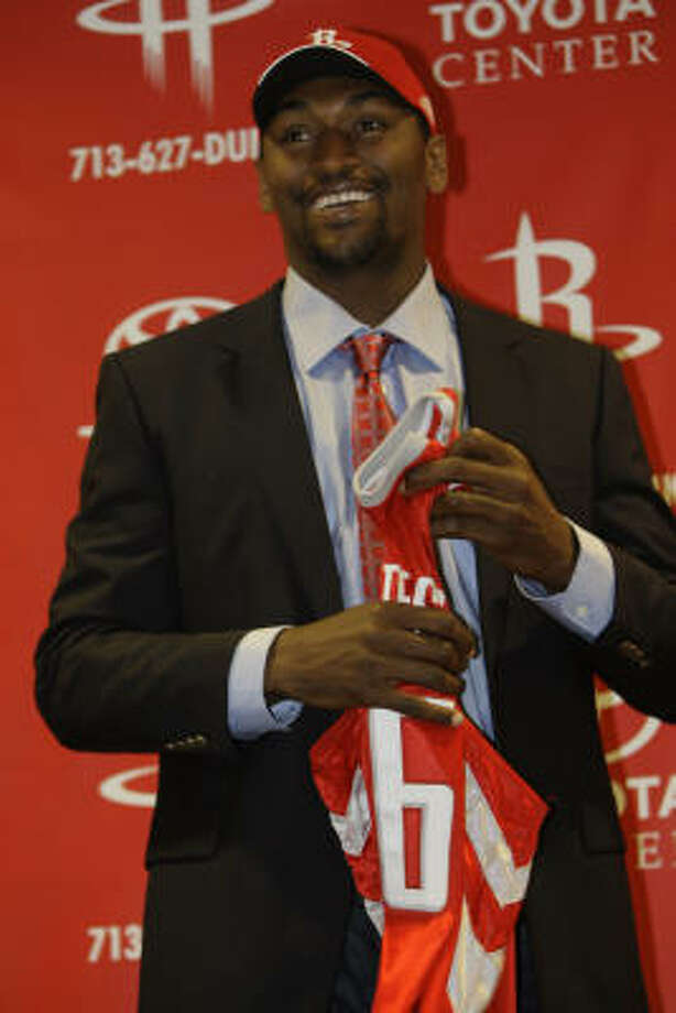 August 25, 2008: The Ron Artest era in Houston officially kicks off with a press conference at Toyota Center. Get Artest's career stats here. Photo: Melissa Phillip, Houston Chronicle