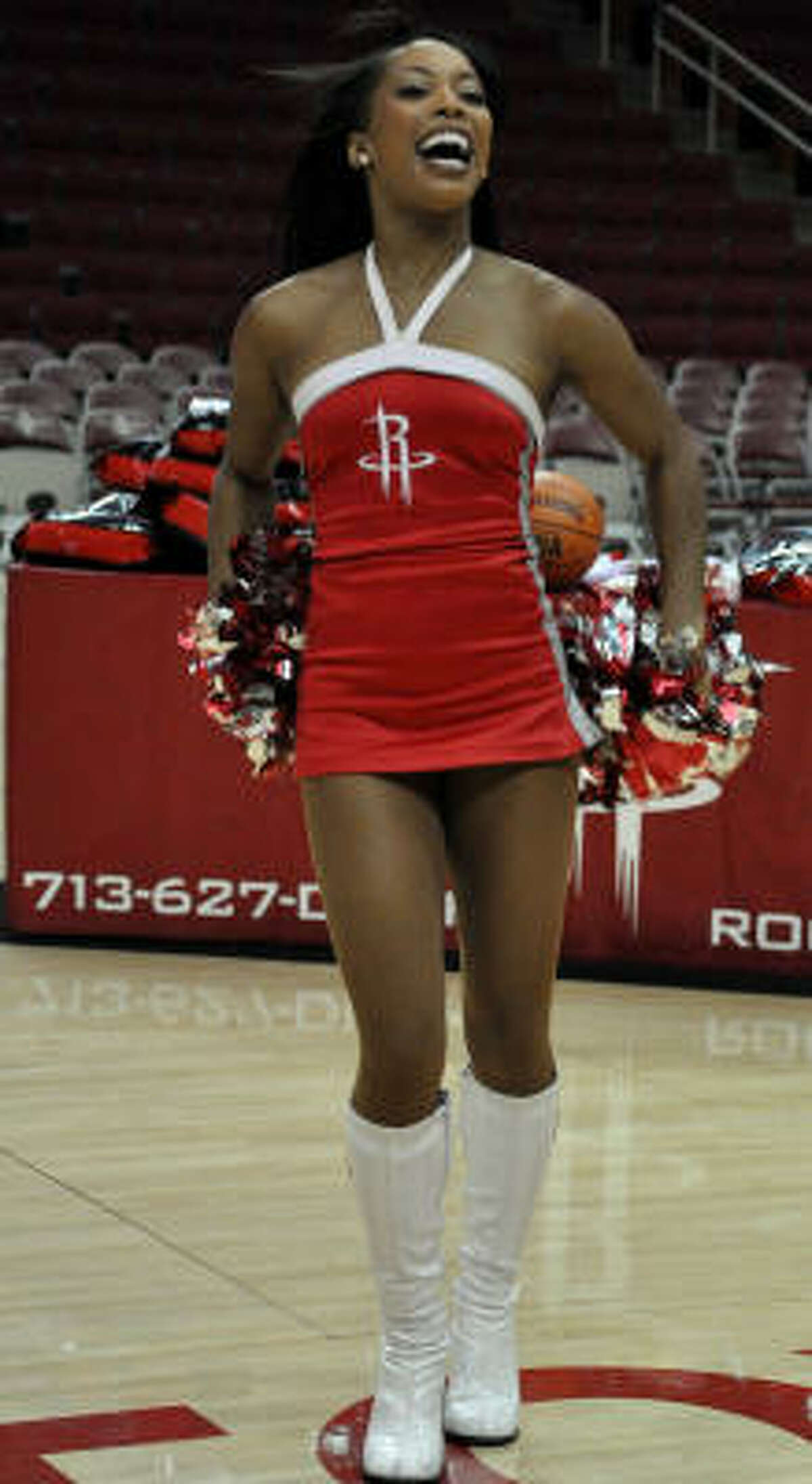 Date: May 17 Site: Toyota Center Series: Rockets vs. Lakers (2nd round) Game: 7 Party line: The Power Dancers perform during a TV timeout.