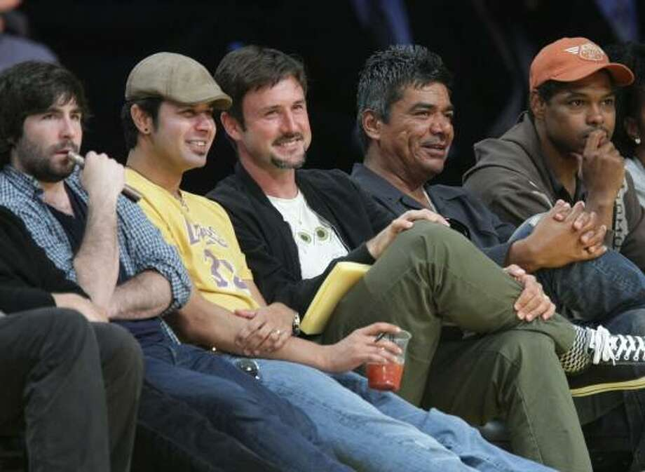 Game 7: Actor David Arquette, center, and comedian George Lopez, second from right. Photo: Noel Vasquez, Getty Images