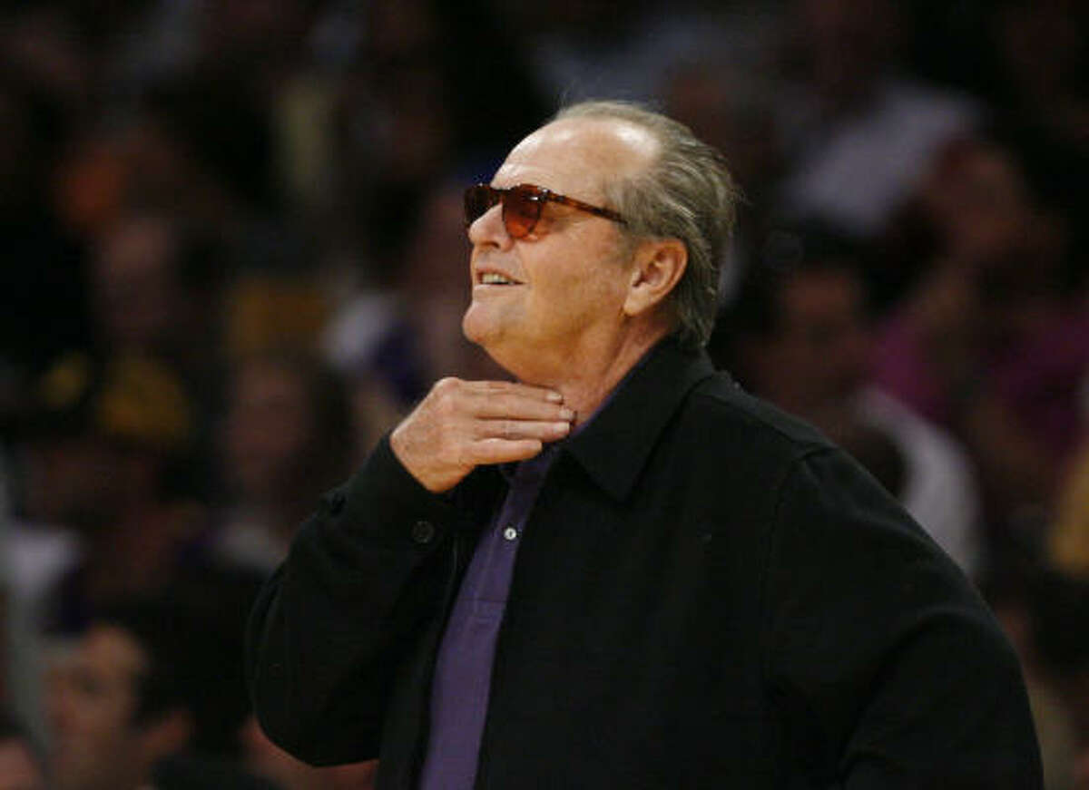 Game 7: Jack Nicholson lets the ref know how he feels about a call during the third quarter.