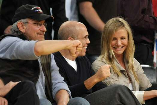 Game 2: Steven Spielberg, from left, Jeffrey Katzenberg and Cameron Diaz Photo: Chris Carlson, AP