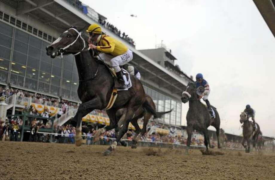 Filly Rachel Alexandra with Kentucky Derby winning jockey Calvin Borel makes a clear path to history by winning the 134th running of the Preakness Stakes and being the first filly to win the race since 1924. Photo: SKIP DICKSTEIN, TIMES UNION
