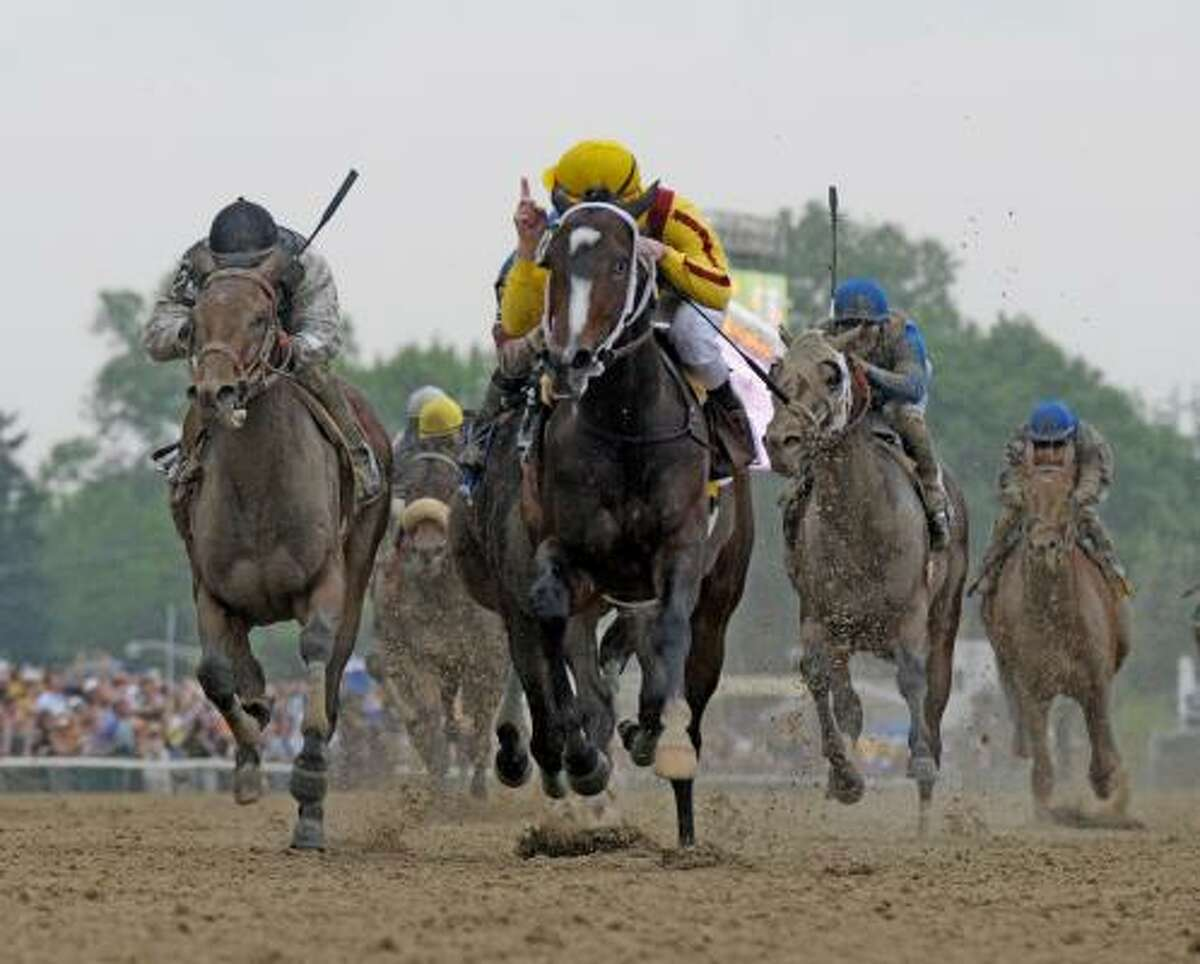 The pack of horses and jockeys race for the finish line.