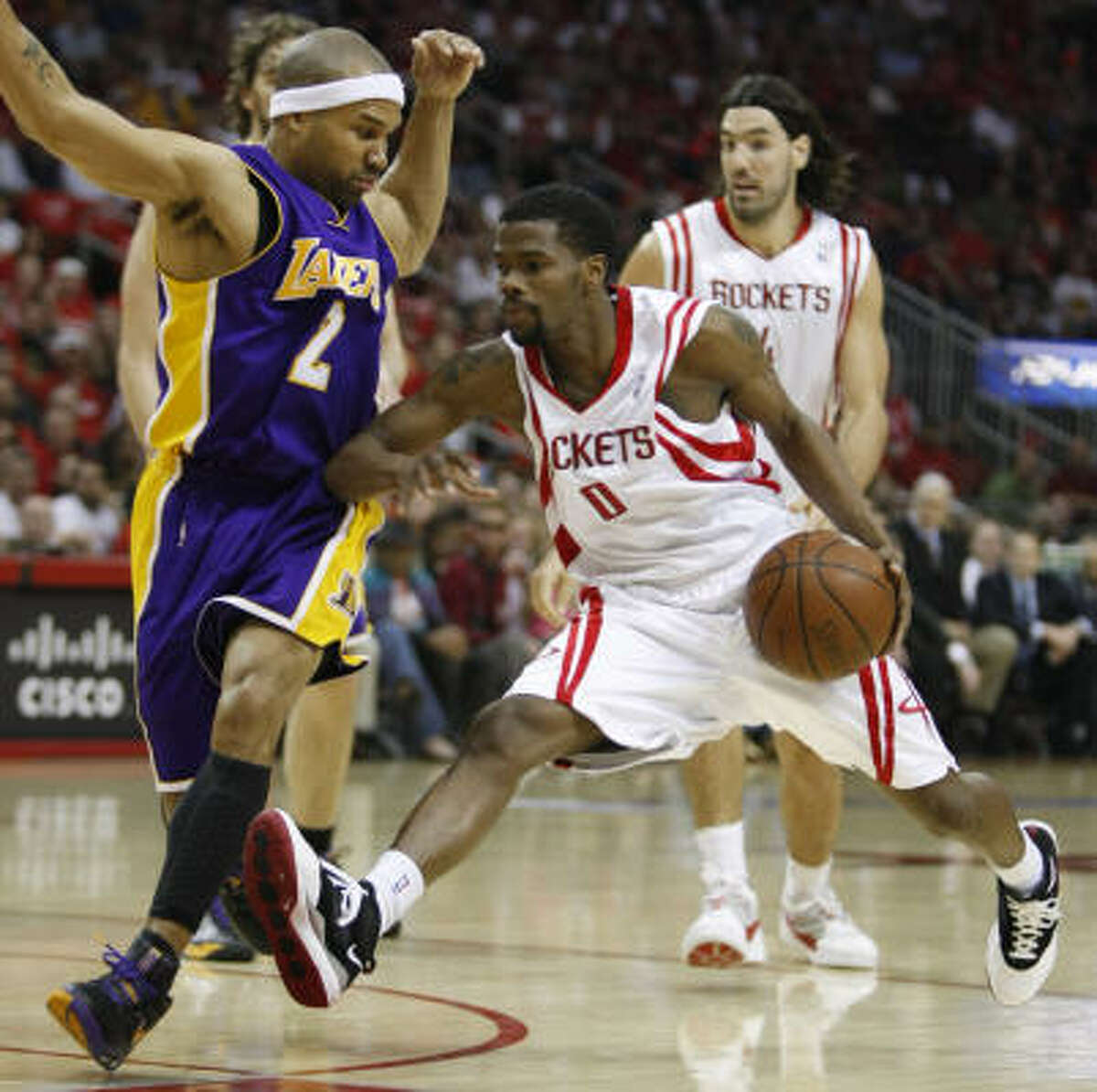 Season: 2008-09 Playoff result: The Rockets defeated the Portland Trail Blazers in six games in their first-round series to advance to the second round for the first time since 1997. Houston will play the Los Angeles Lakers in Game 7 Sunday for the right to face the Denver Nuggets in the Western Conference finals.