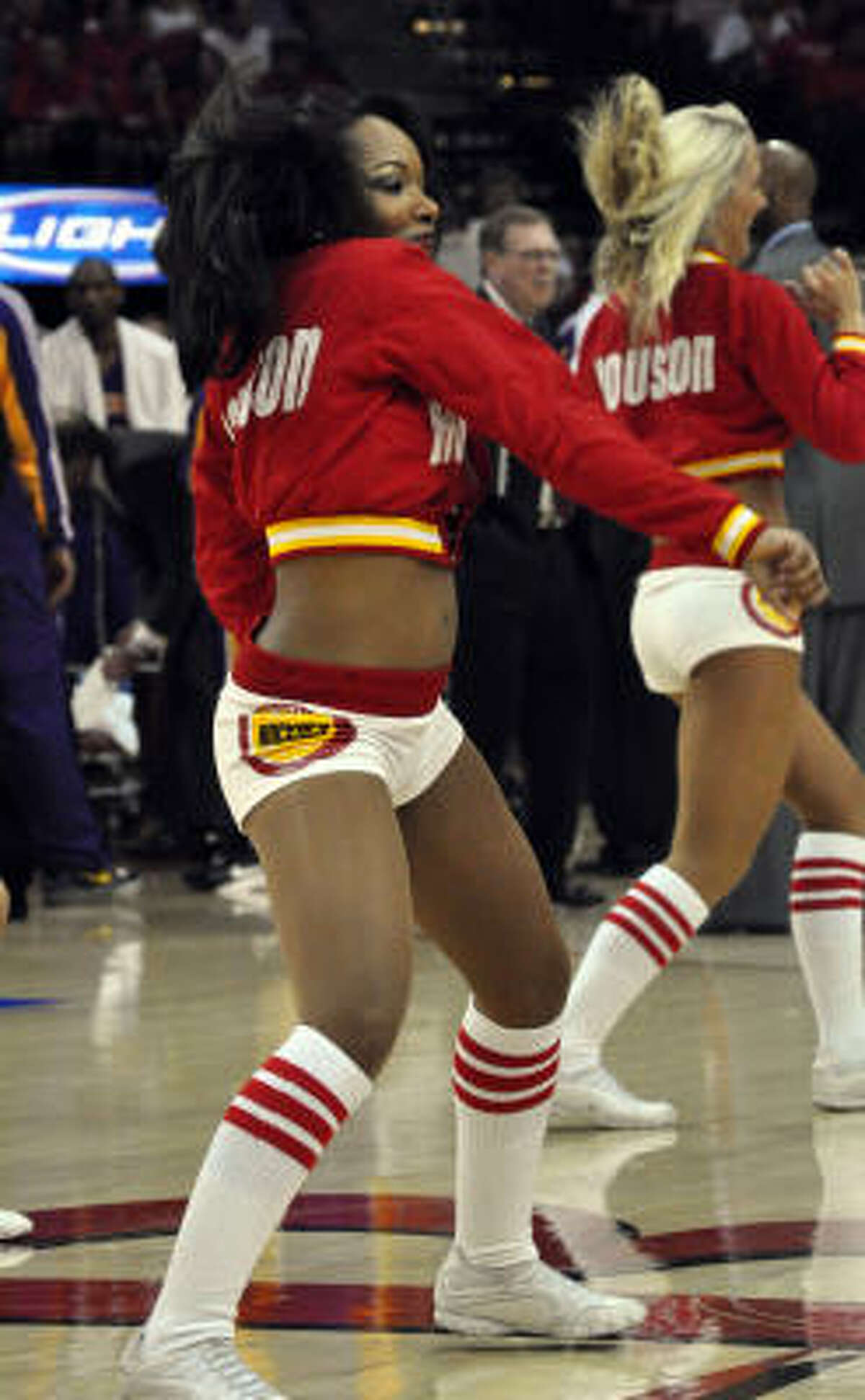 Date: May 14 Series: Rockets vs. Lakers (2nd round) Game: 6 The Rockets Power Dancers perform during a TV timeout.