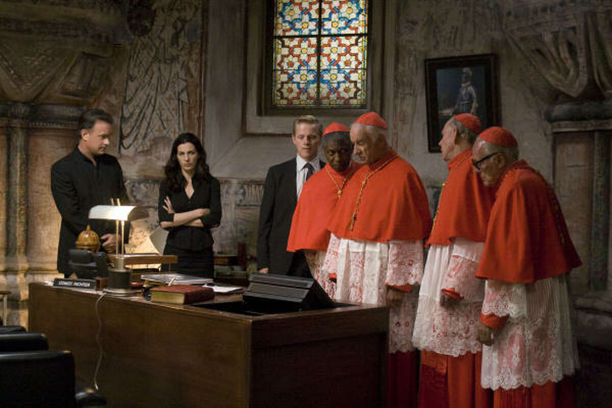 Tom Hanks, left, stars as Robert Langdon in the suspense thrilled Angels & Demons, the film version of Dan Brown's book. As with The Da Vinci Code, religious scholars are scoffing at Brown, this time calling the firm stereotypical in its take on science versus the church.