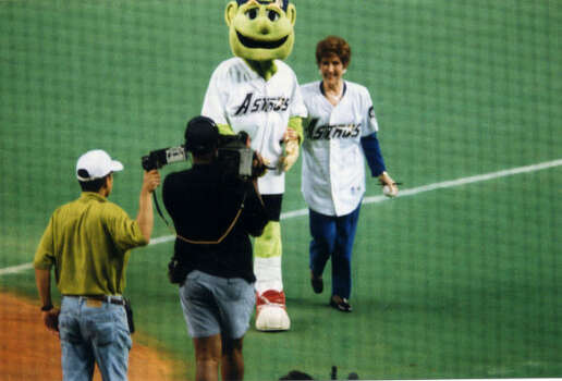 Dodie Osteen was invited to throw out the first pitch at an Astros game. Photo: Provided By Lakewood Church