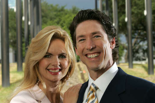 Victoria and Joel Osteen pose for a portrait outside the new Lakewood Church on July 9, 2005. Photo: BRETT COOMER, HOUSTON CHRONICLE