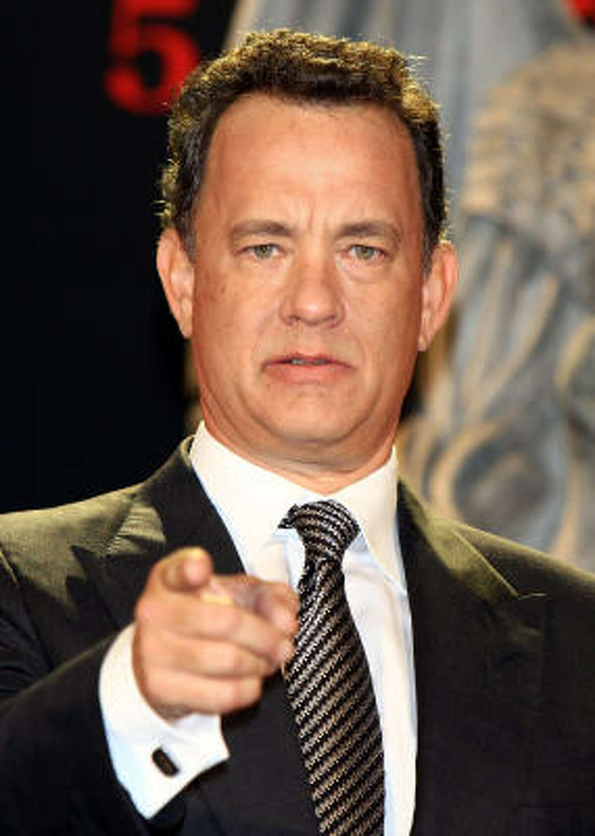 Actor Tom Hanks attends the Angels & Demons premiere.