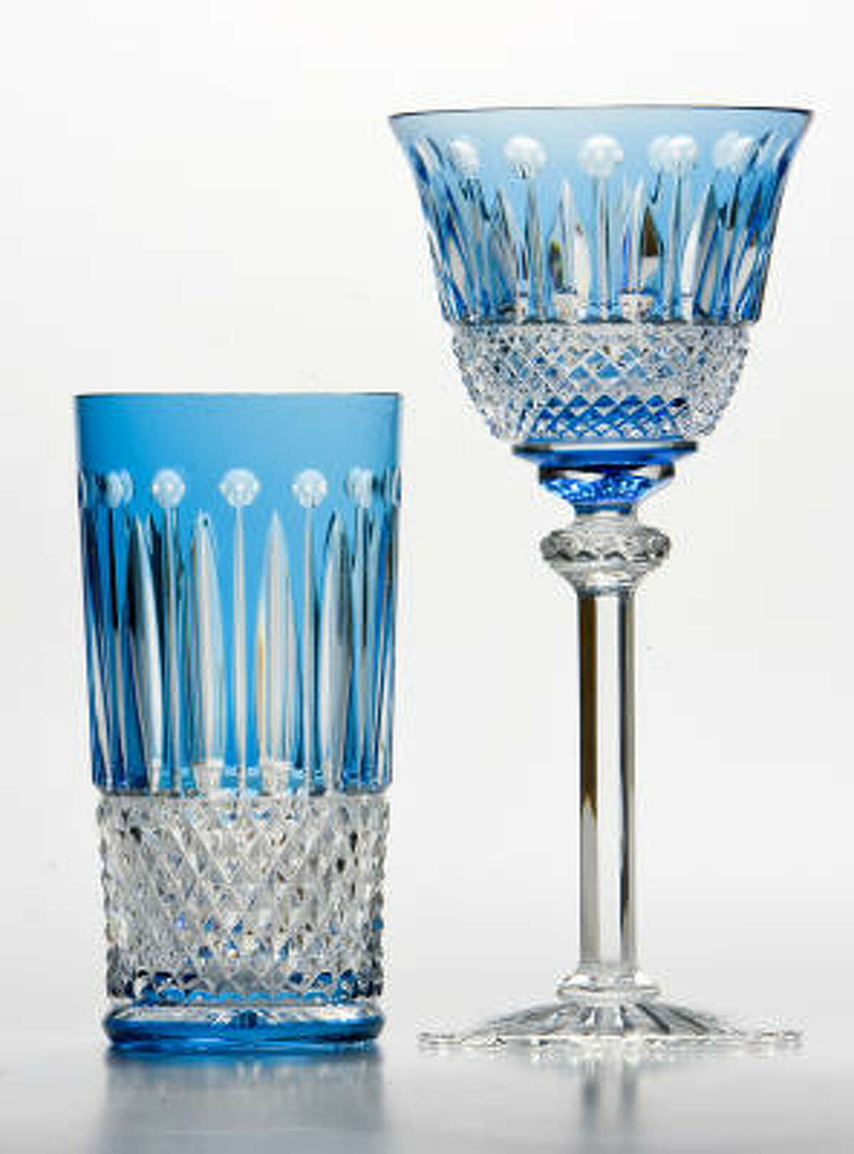 Tommy Tall tumbler, $480, and Tommy wine glass, $490, by Saint Louis at Kuhl-Linscomb.