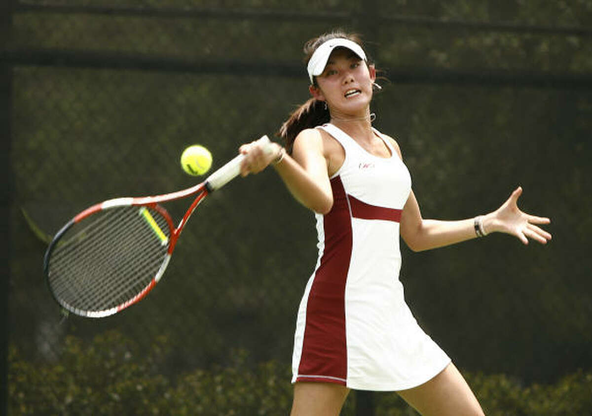 Stephanie Li (pictured) and Paige Rachel of Cinco Ranch lost to Alex Adams and Sam Adams of New Braunfels in the Class 5A girls doubles semifinals.