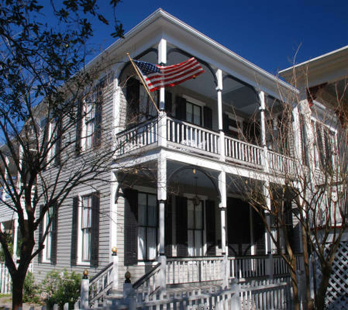 Alfred G. Youens House, 1904; 1512 Rosenberg: Mr. Youens, an insurance inspector, survived the collapse of his home at 24th and Avenue P ½ during the 1900 Storm. He built this two-story, two-bedroom Victorian house as a replacement in an architectural style popular before the storm.