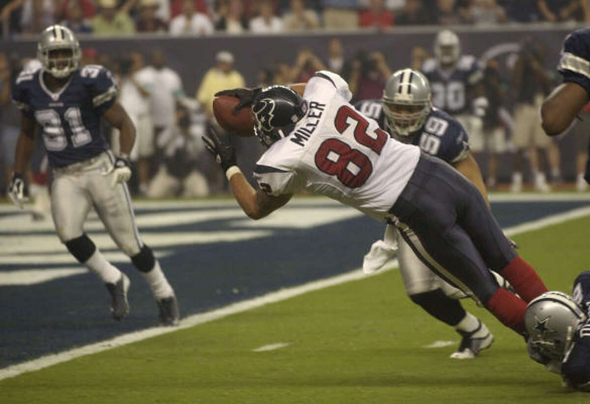 Sept. 8, 2002: The Texans become the first NFL expansion team in 41 years to win its regular-season opener, beating the Cowboys 19-10 in a Sunday night game at Reliant Stadium. David Carr throws two touchdown passes for the Texans.