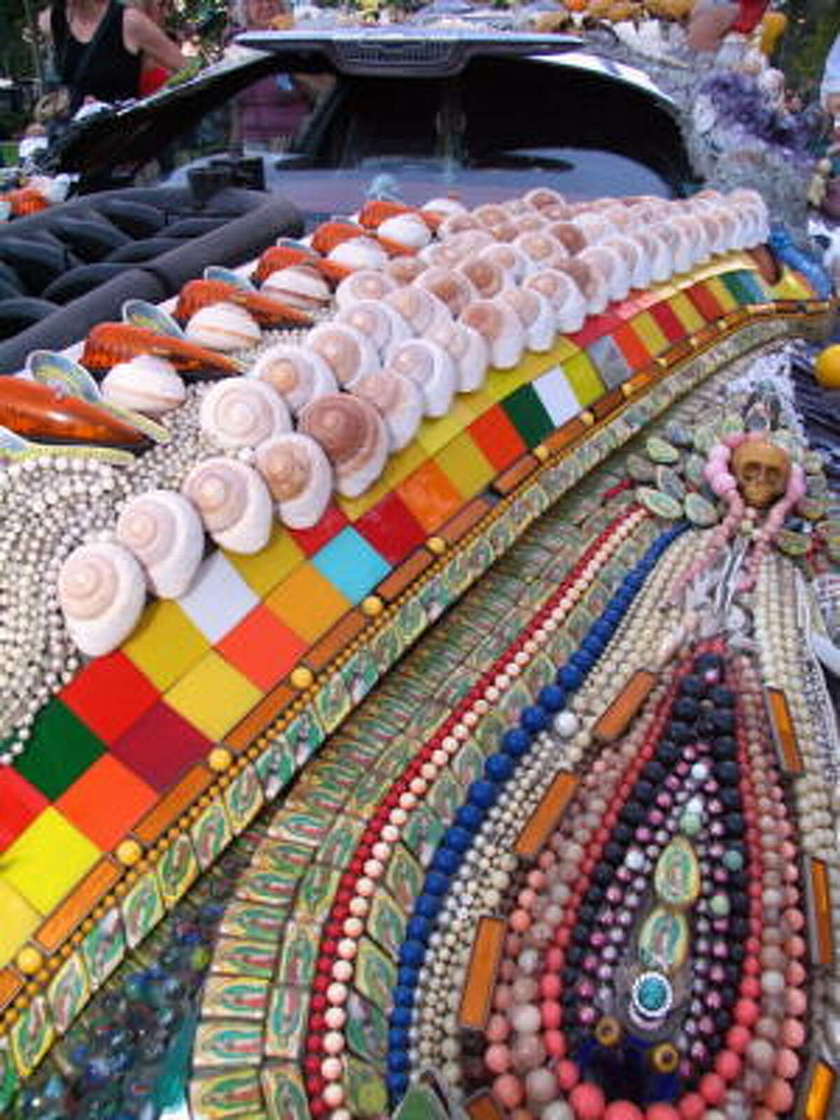 Shells and beads were a popular art car accessory.
