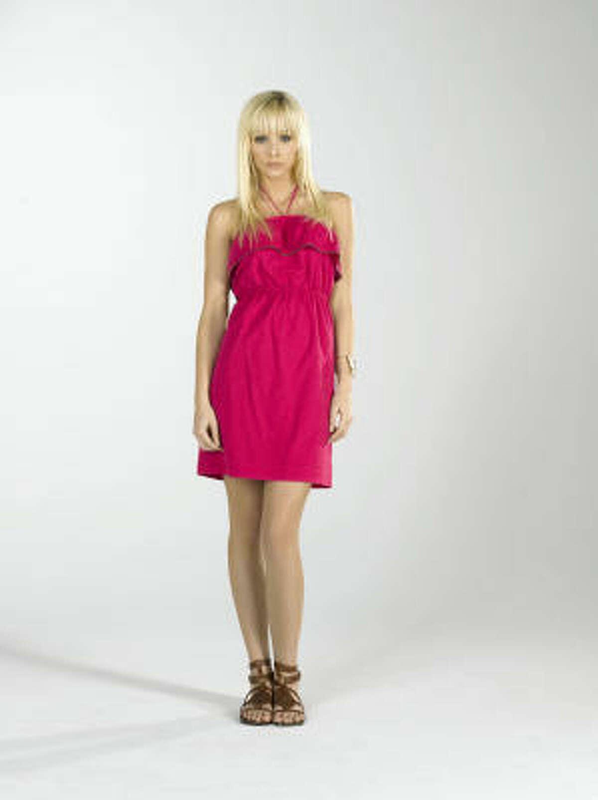 Pink zipper ruffle halter dress, $198, Juicy Couture, Galleria